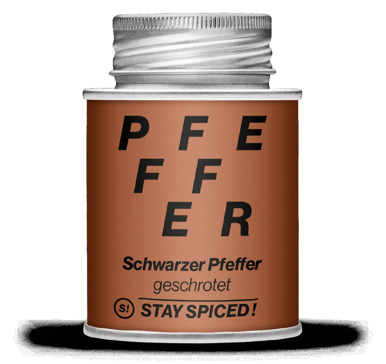 """Pfeffer schwarz geschrotet """"Naturmahlung"""", 170ml Schraubdose 170ml Schraubdose"""