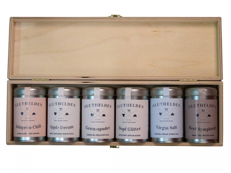 Gluthelden, 6er Holzbox bestückt mit 6 Gewürze der Linie Gluthelden - LIMITIERTE AUFLAGE